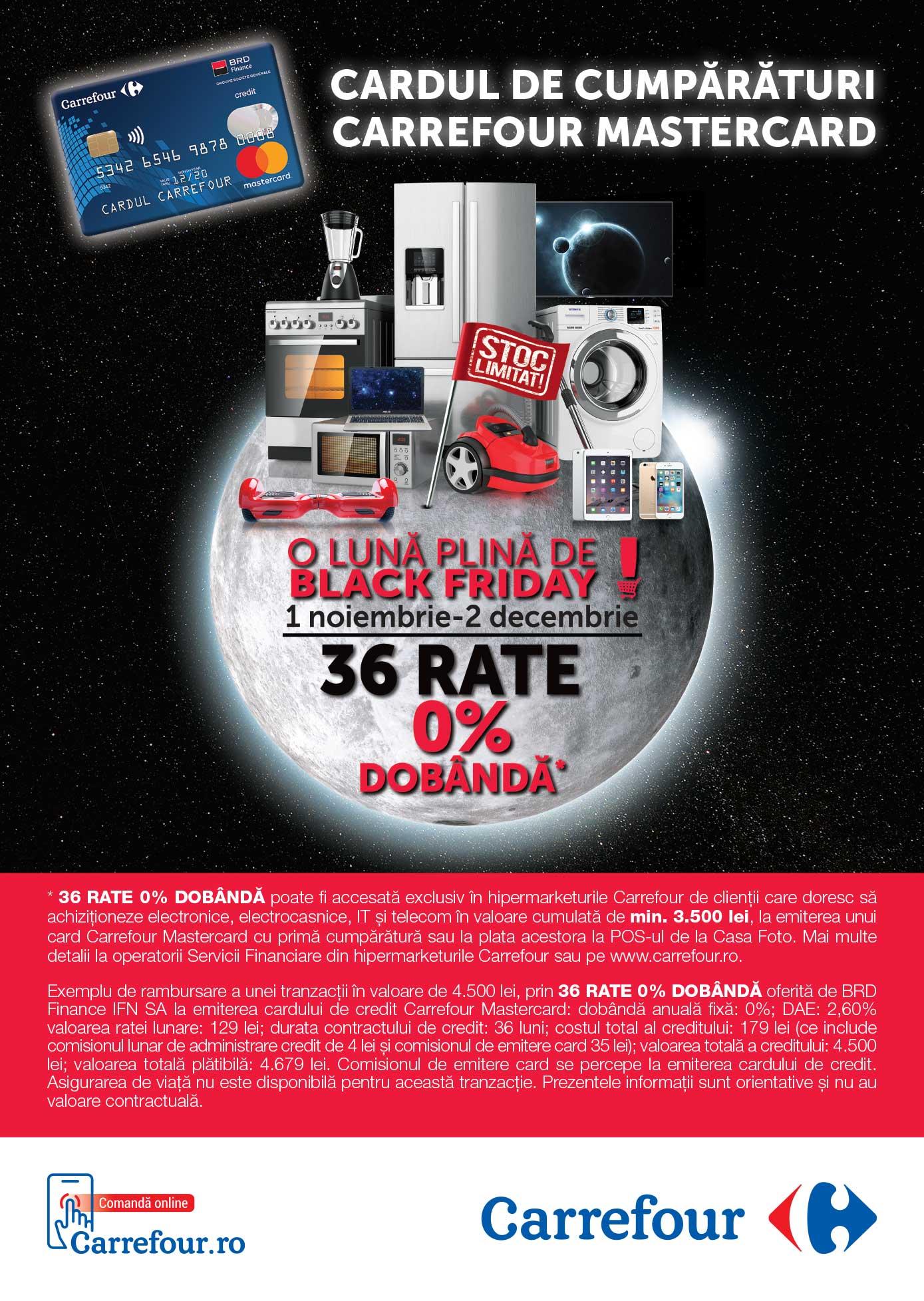 12 / 24 / 36 RATE 0% DOBÂNDĂ pentru achizitionarea de             electronice, electrocasnice, IT și telecom