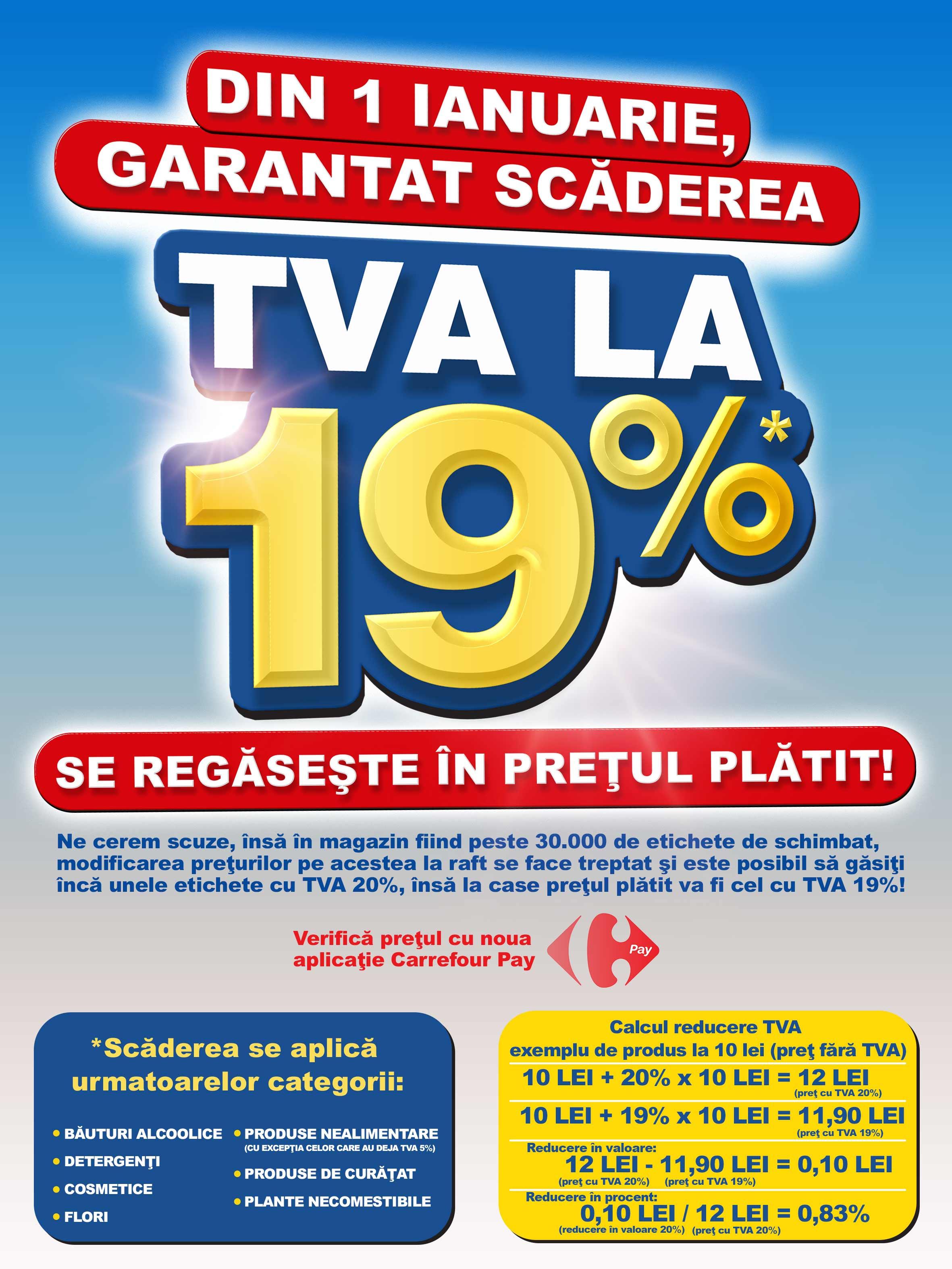 Din 1 ianuarie, garantat scaderea TVA la 19% se regaseste in pretul platit