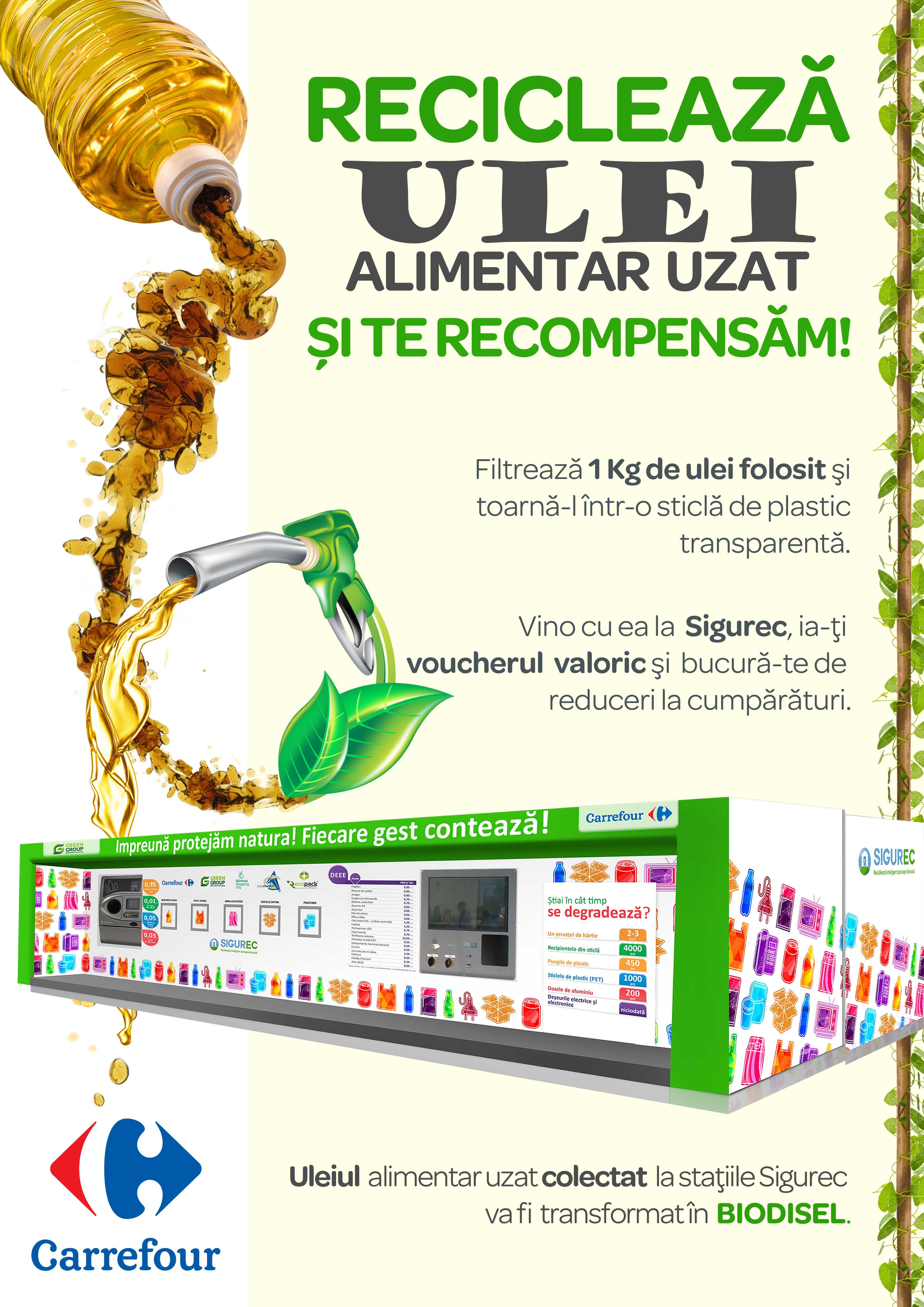 Carrefour România și Green Group lansează la 4 ani de operare a sistemului Sigurec un nou serviciu: colectarea uleiului alimentar, cu recompensă pe loc