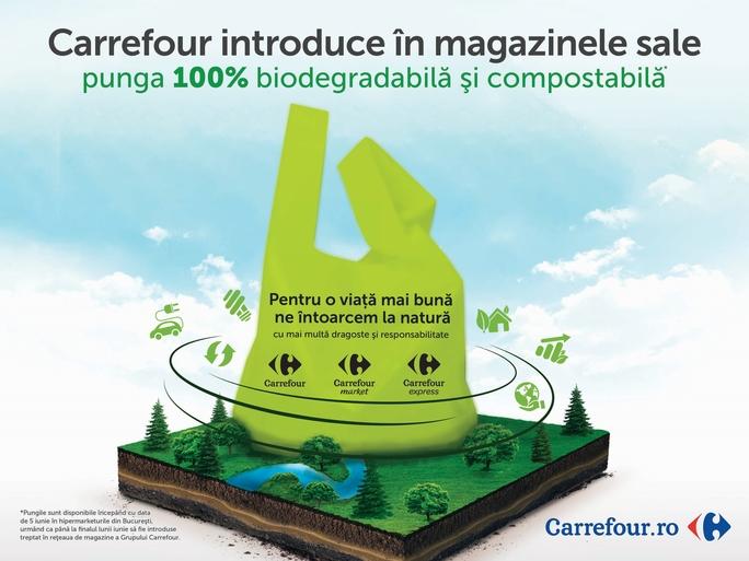 Carrefour este primul retailer din România care introduce la nivel național pungi 100% biodegradabile