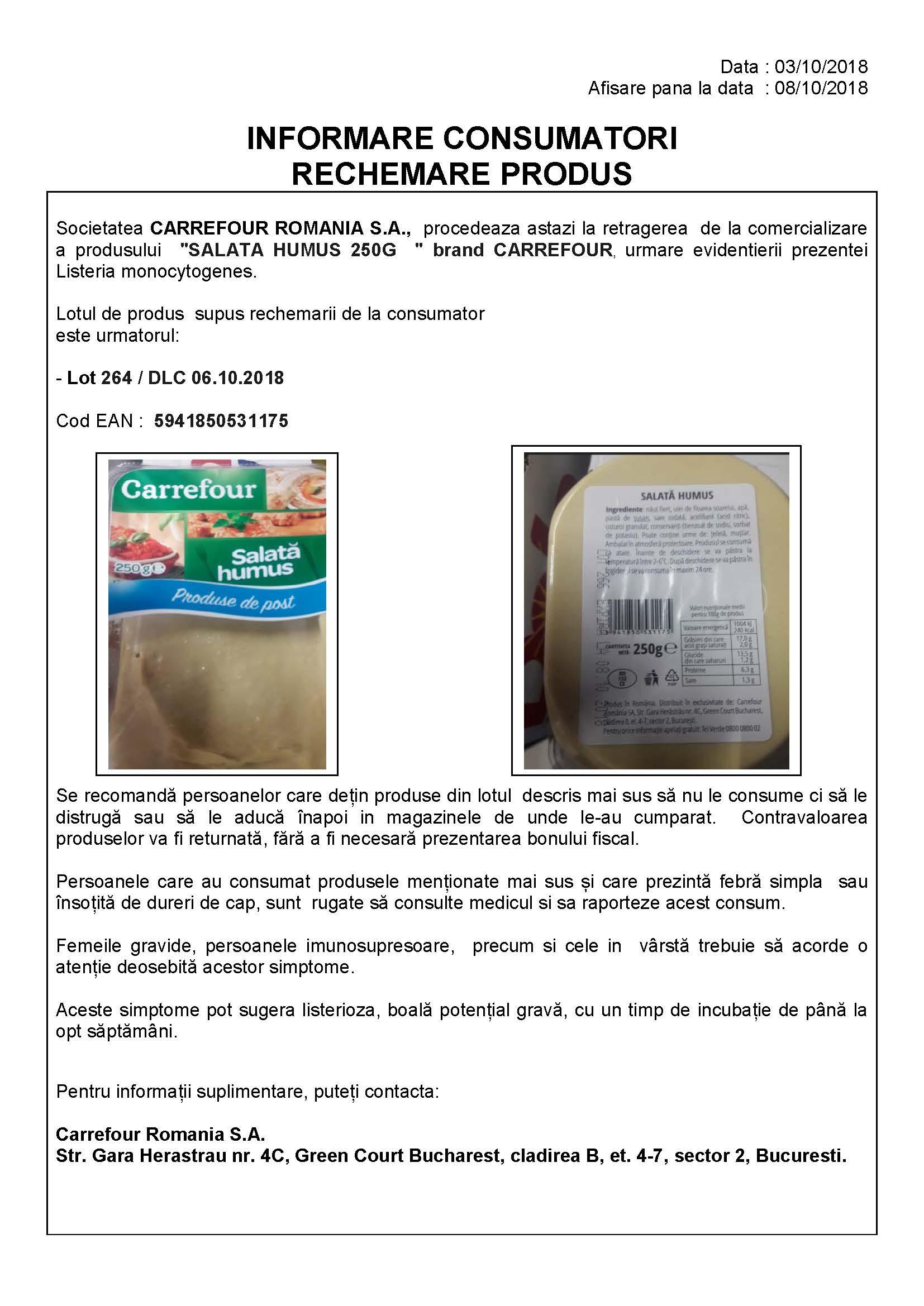 Comunicat privind retragerea produselor Carrefour infestate cu listeria
