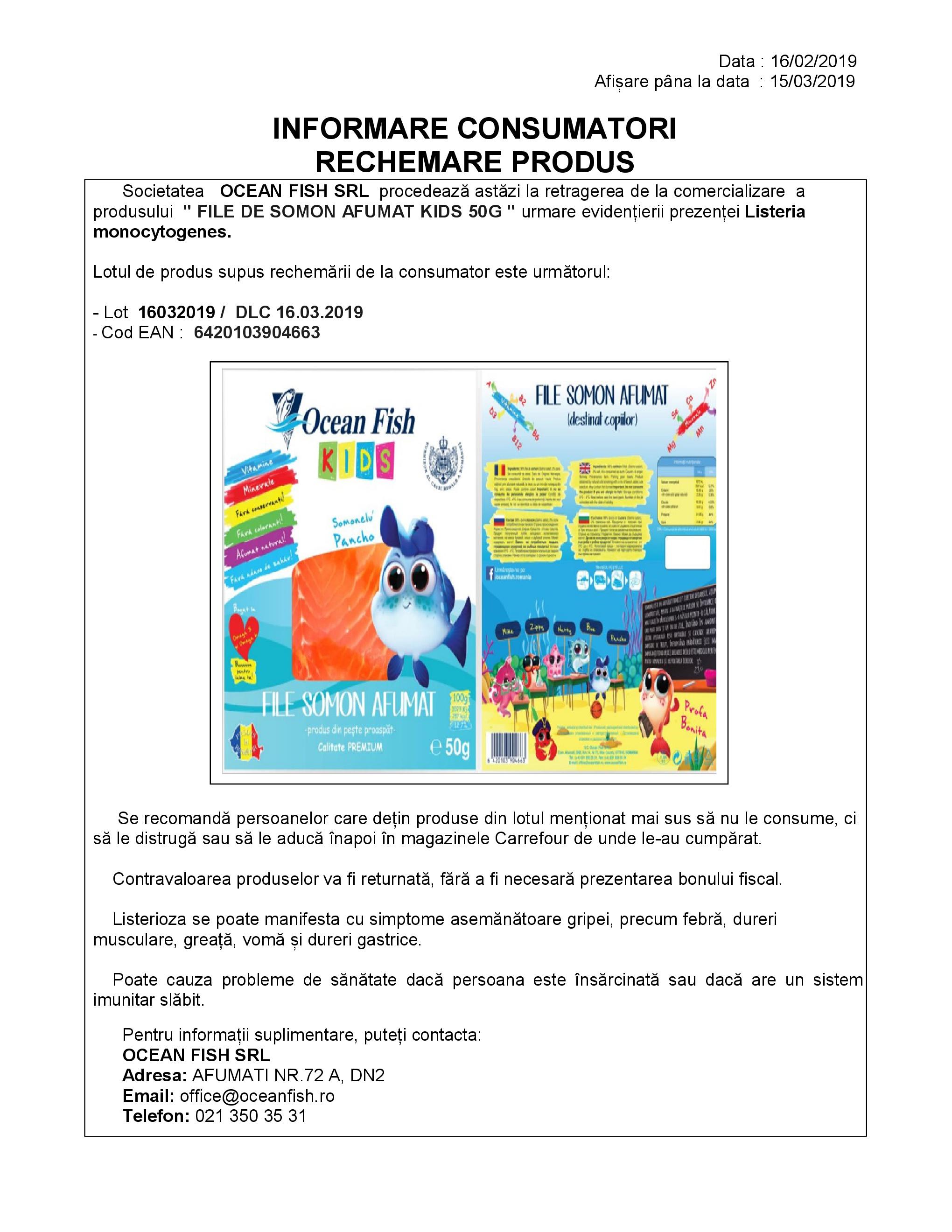 Informare consumatori Rechemare Produs