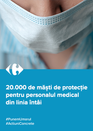 Carrefour pune umărul la efortul medicilor de a rezista în fața pandemiei și oferă 20.000 măști de protecție