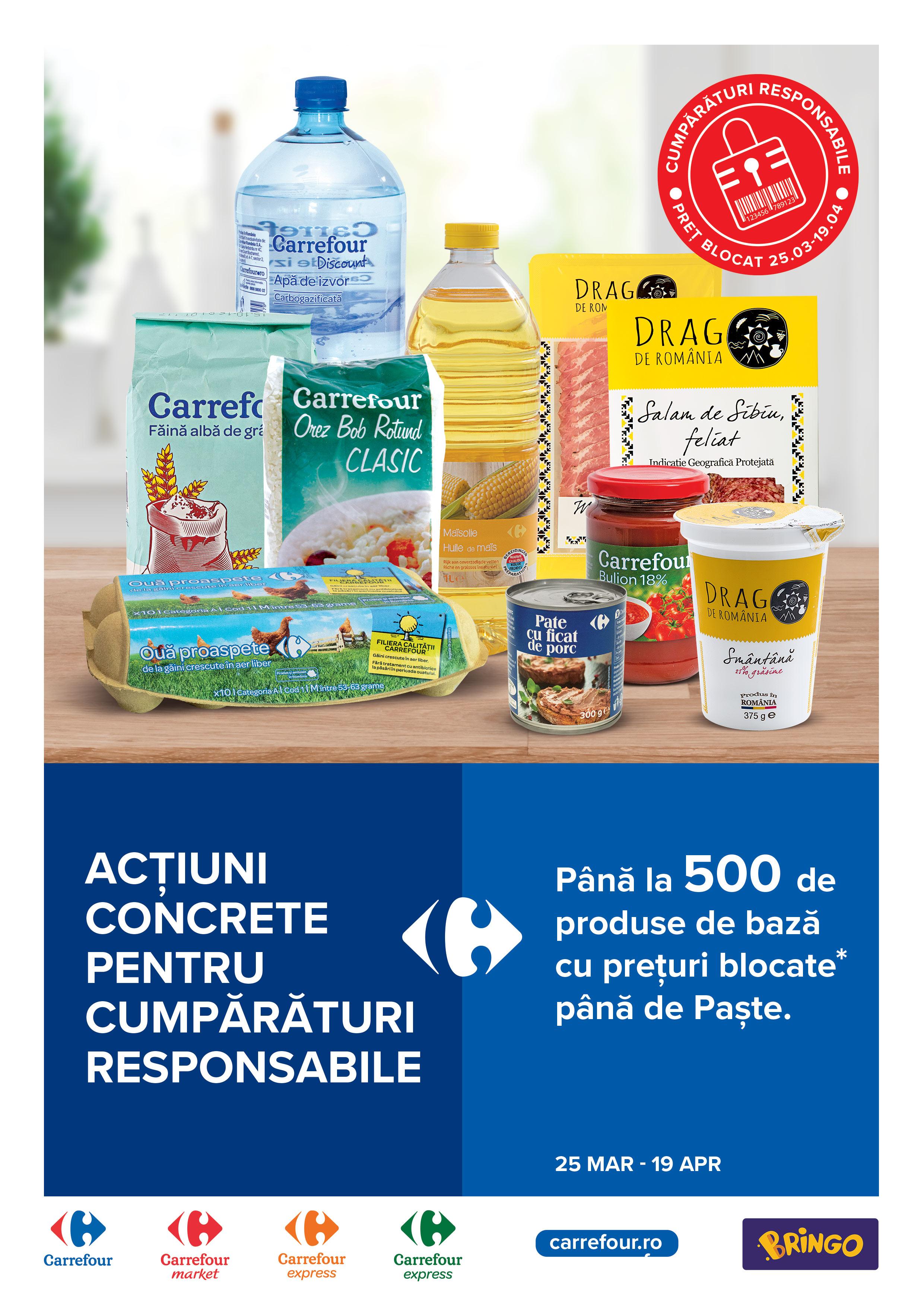 Acțiuni concrete de la Carrefour pentru cumpărături responsabile: Carrefour își ia angajamentul să țină prețurile plafonate până de Paște pentru până la 500 de produse