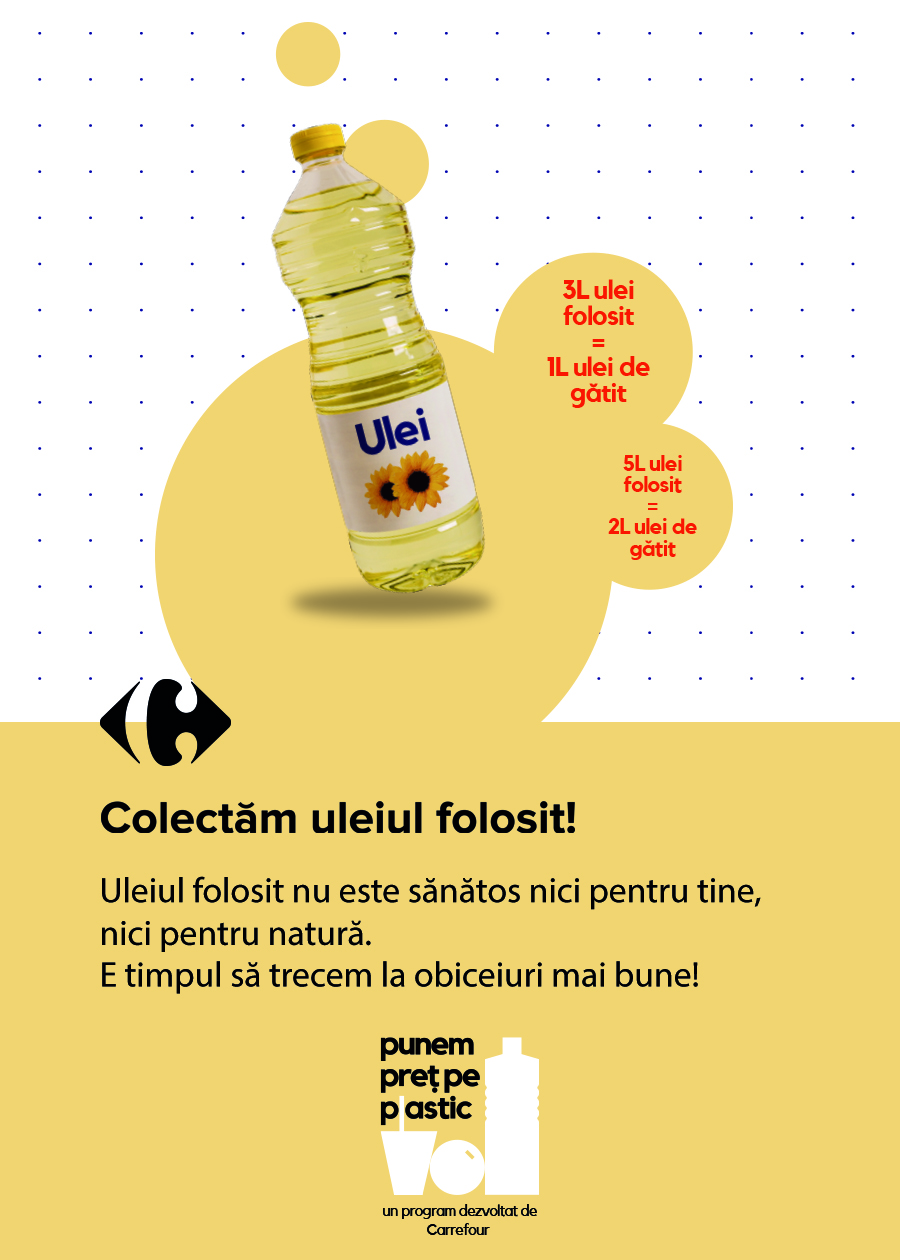 La Carrefour, uleiul folosit nu e niciodată irosit! Află unde poți aduce uleiul alimentar uzat pentru a fi colectat responsabil