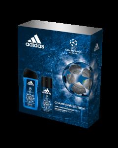 Set cadou Adidas UEFA Champions Edition, Barbati: Deodorant natural spray 75 ml + Gel de dus 250 ml