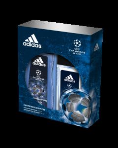 Set cadou Adidas UEFA Champions Edition, Barbati: Deodorant natural spray, 75 ml + Gel de dus, 250 ml