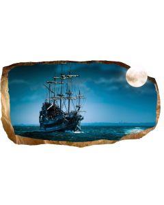 Fototapet 3D Startonight Luna si corabia, luminos in intuneric, 2.20 x 1.20 m
