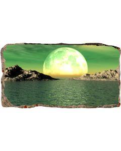 Fototapet 3D Startonight Luna peste ape, luminos in intuneric, 2.20 x 1.20 m