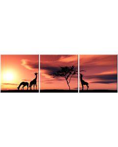 Set tablou DualView Startonight Girafe, luminos in intuneric, 60 x 180 cm (3 piese 60 x 60 cm)