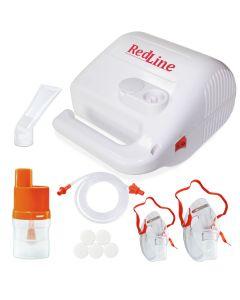 Aparat de aerosoli, nebulizator RedLine NB-215, cu compresor, MMAD 2.44 µm, pentru adulti si copii, 3 ani garantie, Alb
