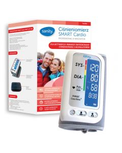 Tensiometru electronic de brat Sanity Smart Cardio, 120 memorii, Display LCD, sistolic - diastolic, Alb