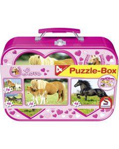 Set de 4 puzzleuri Schmidt pentru copii 2×26, 2×48 piese: Cai