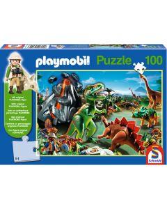 Puzzle Schmidt pentru copii 100 piese playmobil: În ținutul dinozaurilor