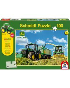 Puzzle Schmidt pentru copii 100 piese John Deere: Tractor 7310R și mașină de recoltat furaje 8600i
