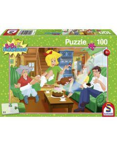 Puzzle Schmidt pentru copii 100 piese Bibi Blocksberg: La mulți ani! Surpriză!