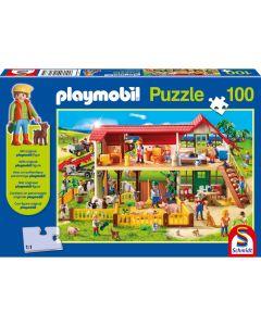 Puzzle Schmidt pentru copii 100 piese playmobil: La fermă