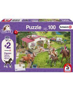 Puzzle Schmidt pentru copii 100 piese Schleich: Călărit la țară