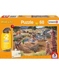 Puzzle Schmidt pentru copii 60 piese Schleich: La adăpat