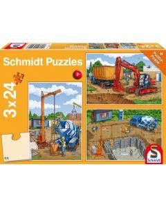 Set de 3 puzzleuri Schmidt pentru copii 3×24 piese: Să construim
