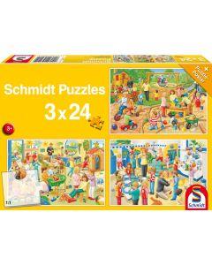 Set de 3 puzzleuri Schmidt pentru copii 3×24 piese: O zi la grădiniță