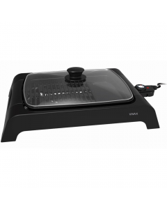 Gratar electric Vivax EG-4030, 2000 W, Incalzire rapida M-Shape, Termostat detasabil, Tava curatare retractabila, Suprafata gratar / plita, Capac de sticla