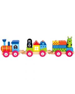 Trenulet din Lemn cu Casute si Figurine Little Mole