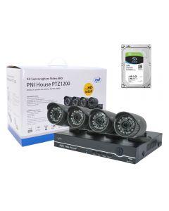 Kit supraveghere video PNI House PTZ1200 Full HD cu HDD 1Tb inclus - DVR si 4 camere de exterior