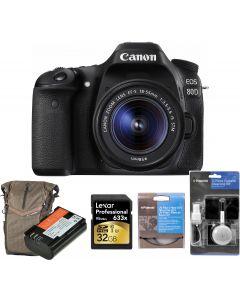 Aparat foto DSLR Canon EOS 80D BK, 24.2 MP,Wifi + Obiectiv EF-S 18-55mm IS STM