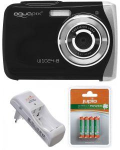 Camera Foto Subacvatica EasyPix W1024 Negru + BONUS: 16GB mSD, Husa si Set INcarcator si Acumulatori Jupio AAA 850 mAh