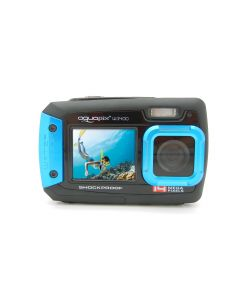 Aparat foto digital AquaPix W1400 Active Waterproof, 20 MPx, Dustproof, Shockproof, Afisare Data, Albastru (Dual Display, Ideal pentru Selfie-uri Sub Apa) + BONUS Husa