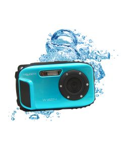 Aparat foto digital AquaPix W1627 Ocean, Waterproof, 16 MPx, Dustproof, Shockproof, Afisare Data, Albastru + Bonus Husa