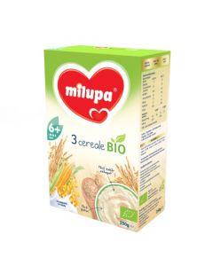 Cereale BIO fara lapte Milupa, 3 Cereale, 250g, 6luni+