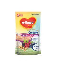 Cereale fara lapte, Milupa, Buna dimineata cereale orez si fructe de padure, 180g, 6luni+