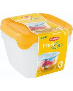 Set 3 cutii 1,2L Fresh&Go, galben