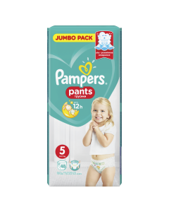Scutece chilotel Pampers Pants Jumbo Pack, Marime 5, 12-17 kg, 48 buc