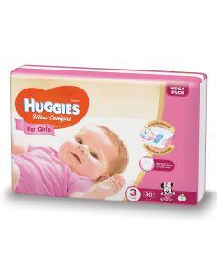 Scutece Huggies Ultra Comfort, nr 3, 5-9 kg, Mega, 80 buc, pentru fetite