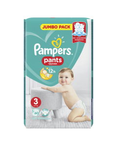 Scutece chilotel Pampers Pants Jumbo Pack, Marime 3, 6-11 kg, 60 buc
