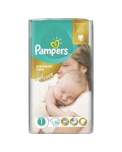 Scutece Pampers Premium Care, Marime 1, 2-5 kg, 54 buc