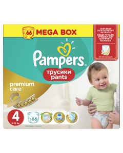 Scutece-chilotel Pampers Premium Care Pants Mega Box, Marime 4, 8-14 kg, 66 buc