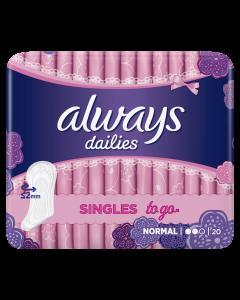 Absorbante zilnice Always Dailies Singles To Go, 20 buc