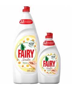 Detergent de vase Fairy Sensitive Chamomile & Vitamin E, 1.3 L + Detergent de vase Fairy Sensitive Chamomile & Vitamin E, 450 ml
