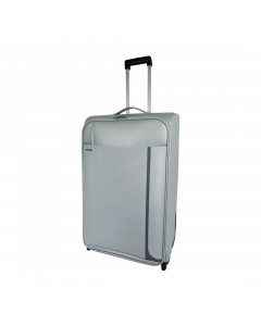 Troler PVC 71 cm, 2 roti, argintiu, Carrefour