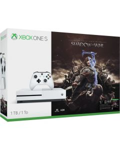 Consola Microsoft Xbox One S 1 TB, Alb + Joc Shadow of War