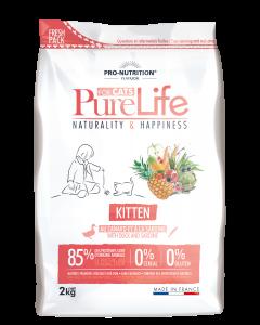 Hrana uscata grain free pentru pisoi si femele gestante, Pure Life Kitten cu Rata si Sardine, 2 kg