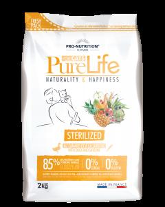 Hrana uscata grain free pentru pisici adulte sterilizate, Pure Life cu Rata si Sardine, 2 kg
