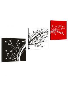 Tablou multicanvas decorativ abstract rosu/alb/negru cu frunze Evolution VSR4211 design modern set 3 bucati 50x50cm