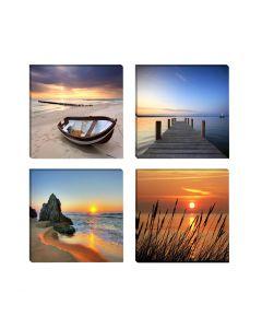 Tablouri canvas moderne cu peisaje la mare plaja barca ponton apus/rasarit de soare VSR6608 set 4 bucati 30x30cm