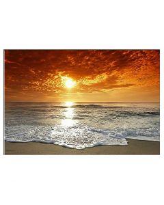 Tablou panza canvas modern cu rasarit de soare pe plaja la malul marii pentru decor 80x60cm VSR4038