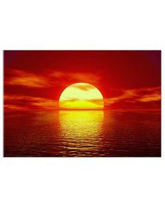 Tablou panza canvas modern pentru decor cu apus de soare in valurile marii 80x60cm VSR4094